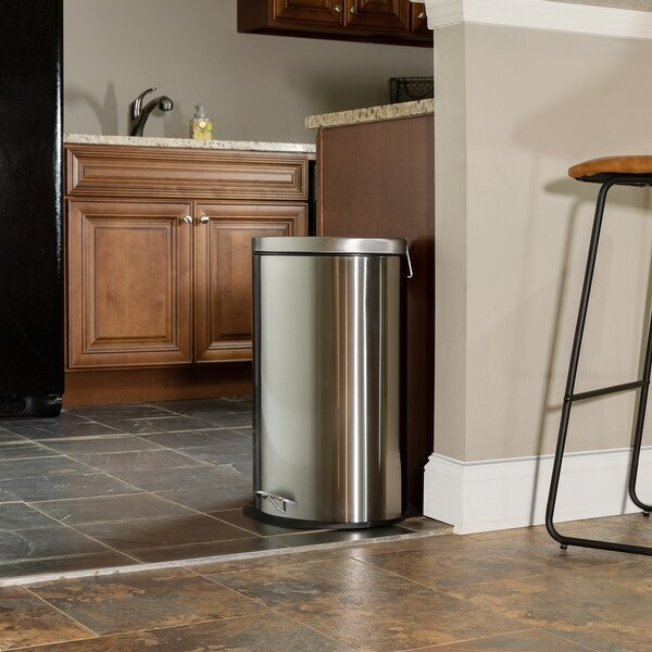 Stainless Steel Imprint Resistant Soft Close, Step Trash Can. Opens flyout.