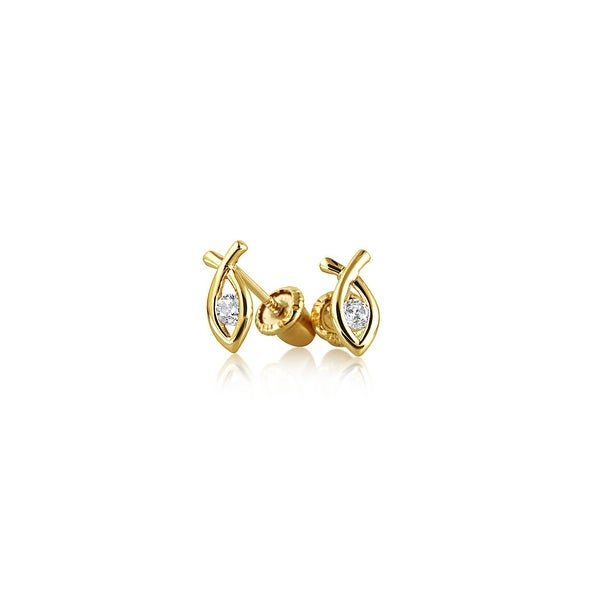 12f3fa2f0 Tiny Minimalist Religious Ichthus Christian Jesus Fish Stud Earrings For  Women For Teen CZ Real 14K