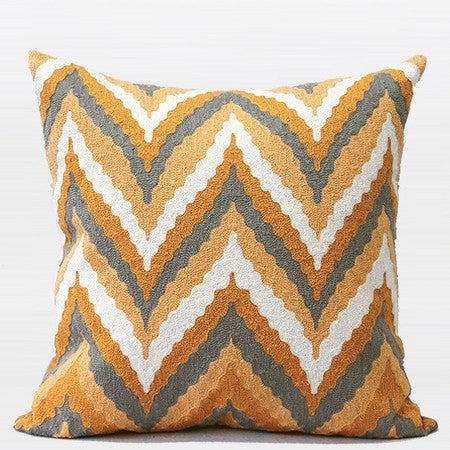 "G Home Collection Luxury Yellow Big Chevron Embroidered Pillow 20""X20"""