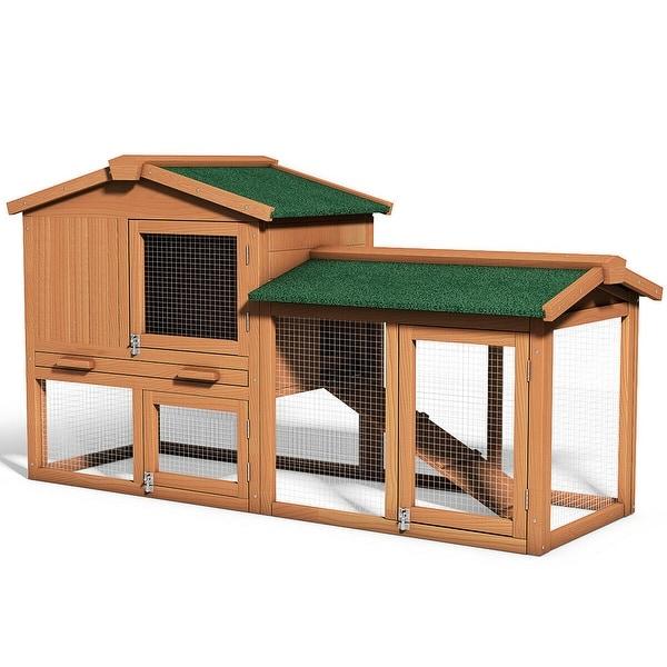 Costway Wooden Large Rabbit Hutch En Coop Bunny Animal Hen Cage House Natural Color