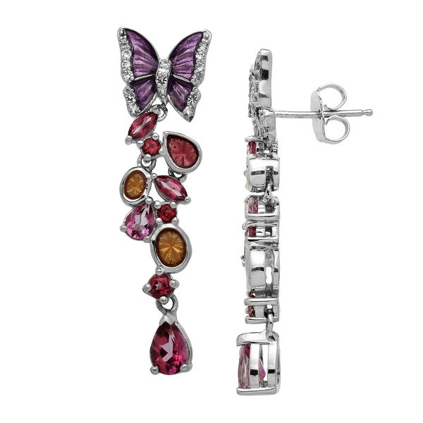 2 1/3 ct Natural Rose Mystic & White Topaz Butterfly Drop Earrings in Sterling Silver - Pink