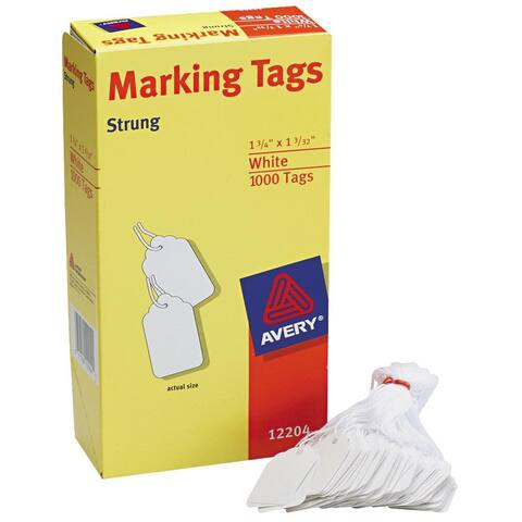 """Avery White Marking Tags 1.75""""X1.09375"""" 1000/Pkg-Strung"""