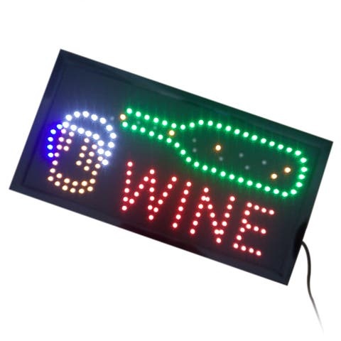 Wine Neon Lights LED Animated Customers Attractive Sign - Yellow