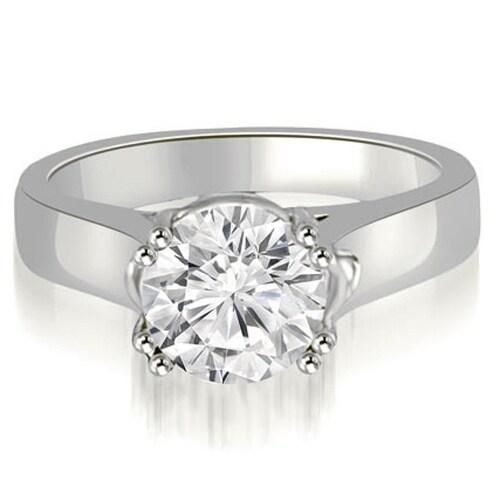 0.75 cttw. 14K White Gold Trellis Solitaire Round Cut Diamond Engagement Ring
