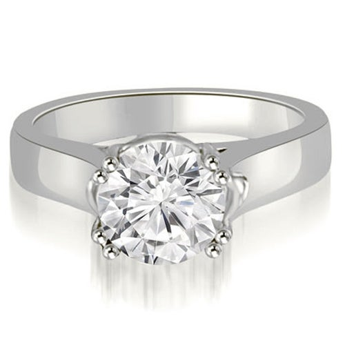 1.00 cttw. 14K White Gold Trellis Solitaire Round Cut Diamond Engagement Ring