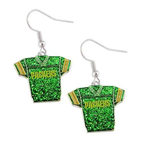 NFL Green Bay Packers Glitter Jerseys Sparkle Dangle logo Earring Set Charm Gift