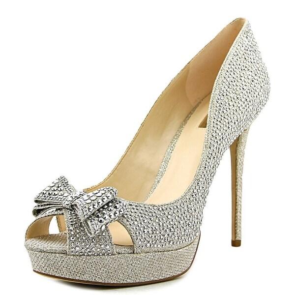 INC International Concepts Vernna 2 Women Open Toe Canvas Gold Platform Heel