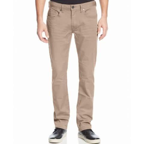 Buffalo David Bitton Mens Beige Size 42X30 Slim Straight Stretch Jeans