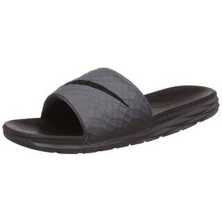 NIKE Men's Benassi Solarsoft Slide Sandal, Dark Grey/Black - Dark Grey/Black