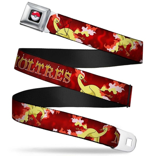 Pok Ball Full Color Black Moltres 3 Fire Flying Poses Flames Reds Yellows Seatbelt Belt