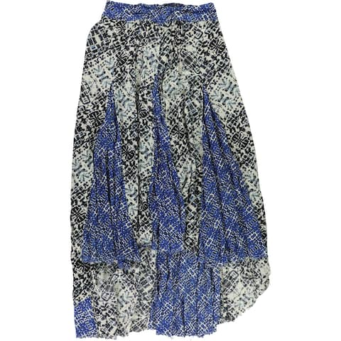 Max Studio London Womens Graphic Printed Maxi Maxi Skirt, Blue, Large
