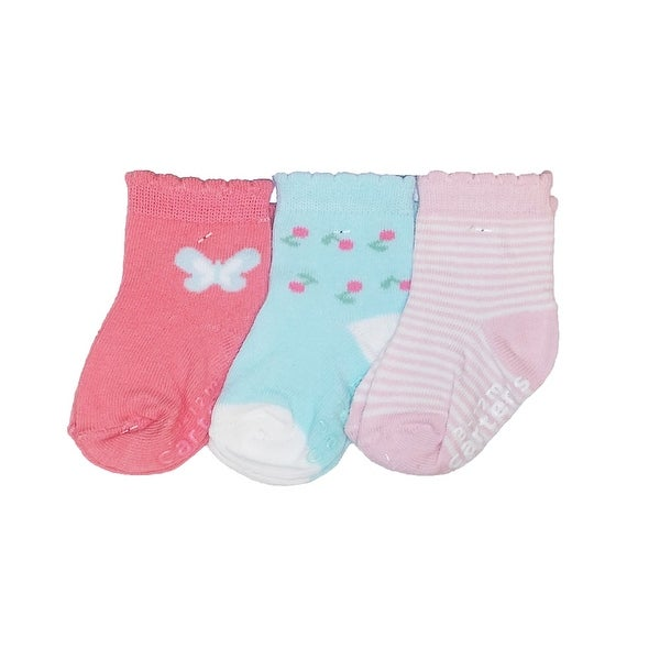 Carter's Baby Girls 3 Pairs of Crew Socks Set - pink/blue butterfly - 3-12 months