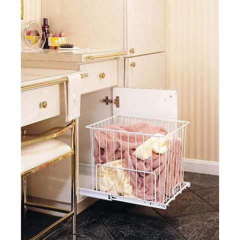 """Rev-A-Shelf HRV-1220 S HRV Series Pull Out 18"""" Deep Wire Hamper with Full-Extension Slides - White"""