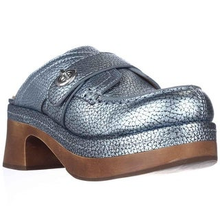 Coach Turnlock Mid Heel Clogs, Pearl Blue