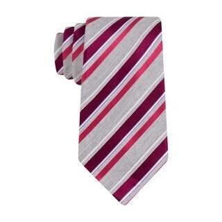 Geoffrey Beene Mens Not So Basic Stripe Classic Tie Necktie Berry and Grey