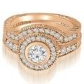 0.90 cttw. 14K Rose Gold Antique Milgrain Halo Bridal Set - Thumbnail 0