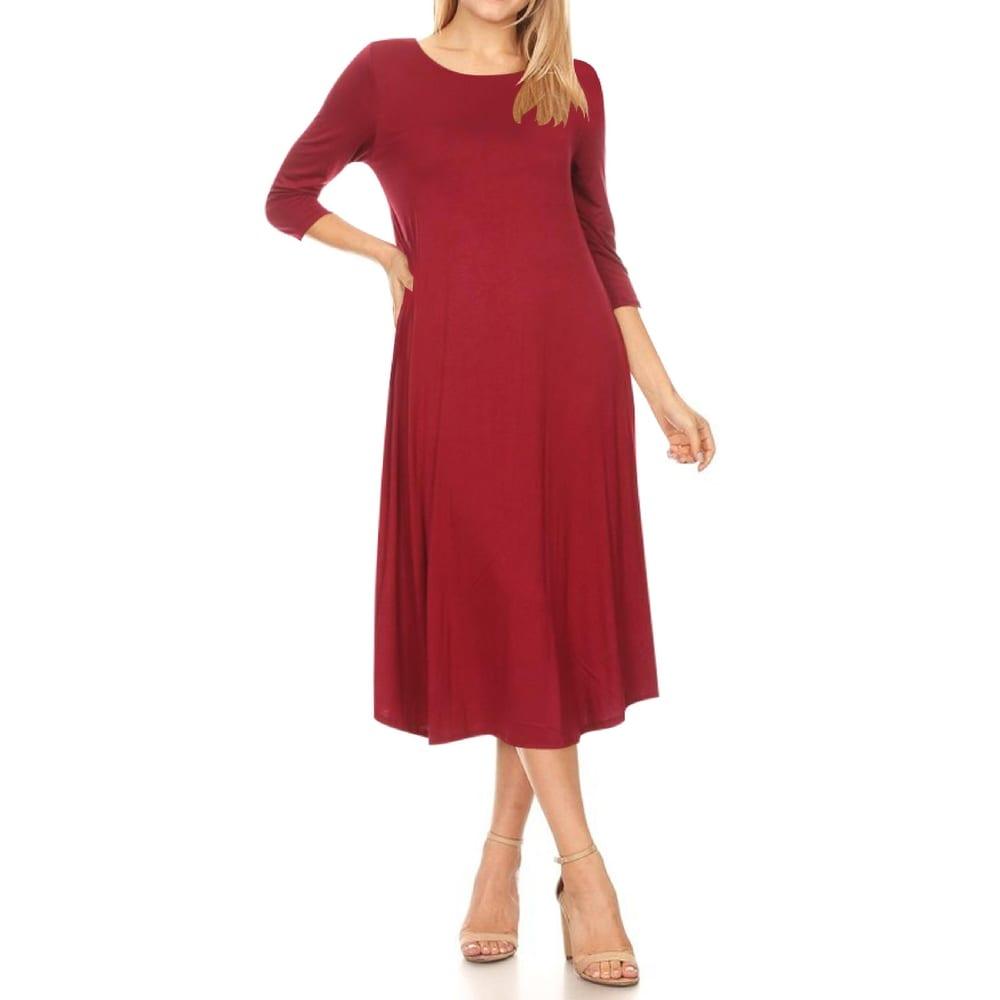 Womens Casual 3/4 Sleeves Solid Midi Dress