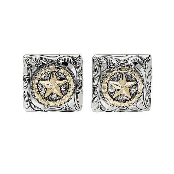 Vogt Western Cufflinks Mens Square Star Disc Silver Gold 028-327