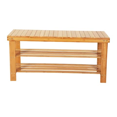 3-Tier Bamboo Shoe Rack Bench, Shoe Rack for Closets, Shoe Rack for Entryway
