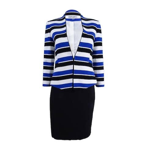 Tahari ASL Women's Striped Skirt Suit (2, Royal/Black/White) - 2