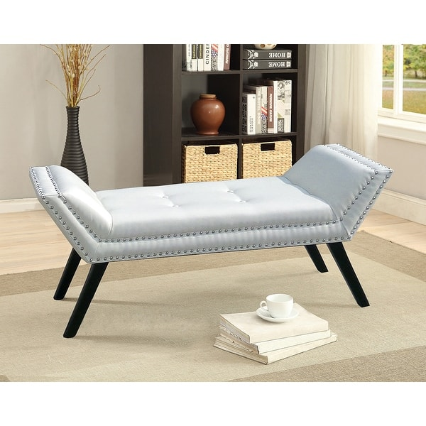 Shop Tamblin White Faux Leather Upholstered Large Ottoman Seating Bench Overstock 16981692