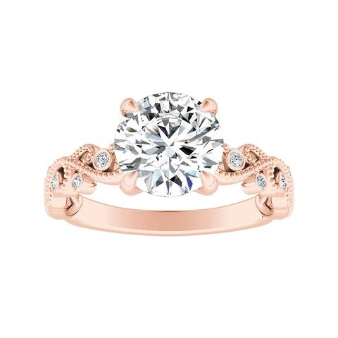 Auriya 14k Gold 2ct TW Vintage Moissanite and Diamond Engagement Ring 1/10cttw