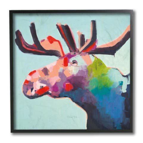 Stupell Industries Abstract Colorful Moose Forest Animal Portrait Framed Wall Art
