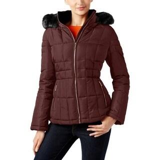 Calvin Klein Womens Puffer Coat Faux Fur Trim Water Resistant - S
