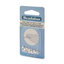 Beadalon Crimp Tubes, for 0.7mm Rubber Stretch Cords, 80 Pieces, Silver Plated