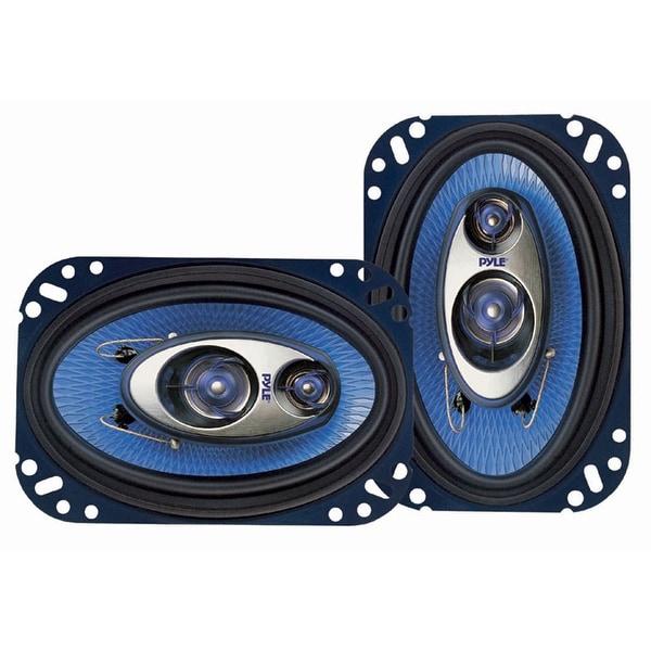 Pyle 4'' x 6'' Three Way Sound Speaker System Pro Mid Range Triaxial Loud Audio 240 Watt per Pair
