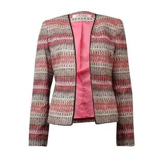 Kasper Women's Collarless Open Front Woven Blazer - flamingo multi