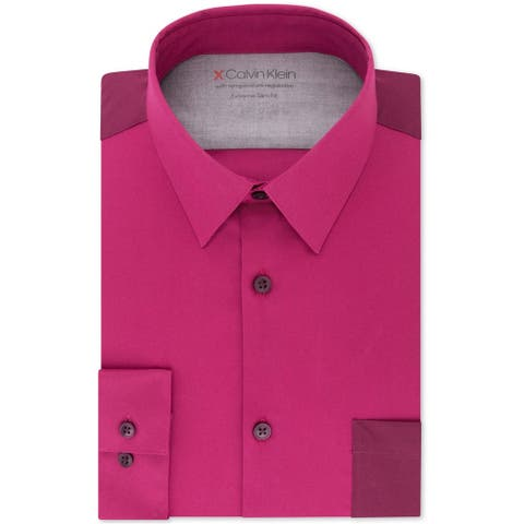 Calvin Klein Mens Slim Fit Performance Button Up Dress Shirt