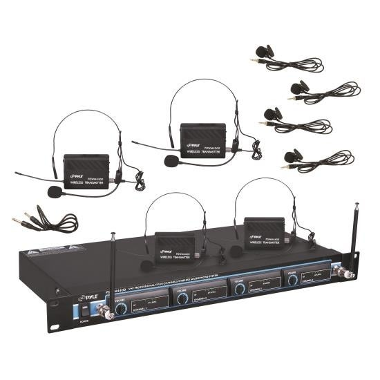 Rack Mount 4 Mic VHF Rack Mount Wireless Lavalie/ Headset System