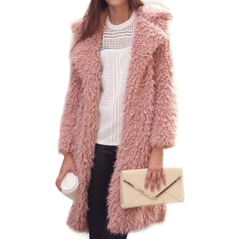 2018 New Lapel Furry Long Coat