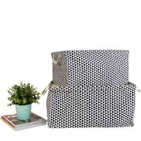 G Home Collection Large Black Triangle Pattern Drawstring Top Fabric Storage Box with Handles Rectangular (Set of 2)