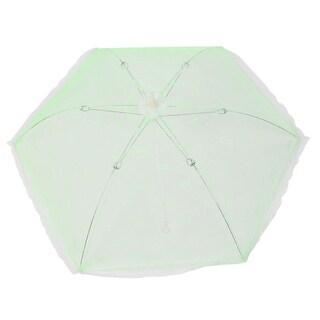 Unique Bargains Kitchen Picnic Camping Metal Frame Nylon Foldable Food Cover Umbrella Green