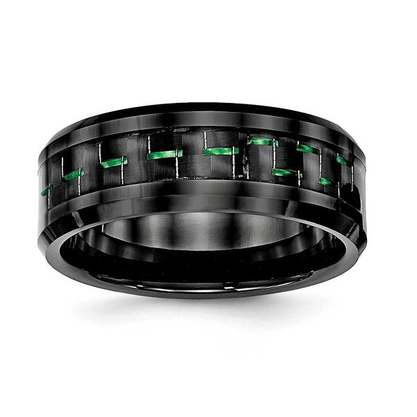 Ceramic Black with Green Carbon Fiber Beveled Edge Ring (8 mm) - Sizes 7 - 13