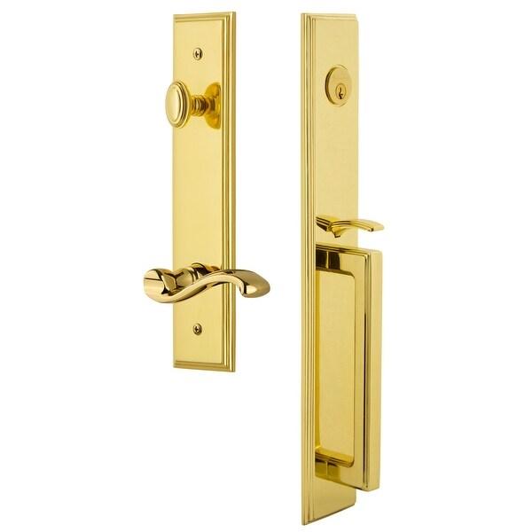 "Grandeur CARDGRPRT_ESET_234_RH Carre Solid Brass Rose Right Handed Keyed Entry Single Cylinder Full Plate ""D"" Grip Handleset"