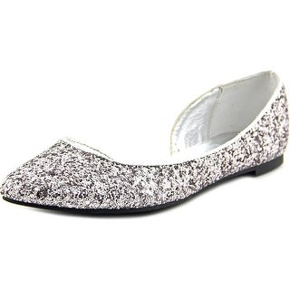 Material Girl Mizzy Women Pointed Toe Synthetic Silver Flats