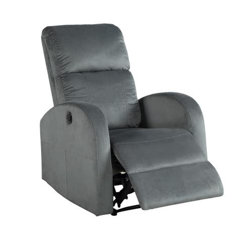 Power Motion Recliner with Fabric Wrapping and Curved Arms, Gray
