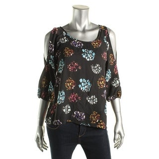 Aqua Womens Printed Cold Shoulder Pullover Top