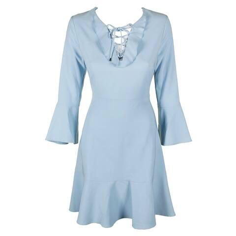 Jax Light Blue Bell-Sleeve Lace-Up Flounce-Hem Fit & Flare Dress 12