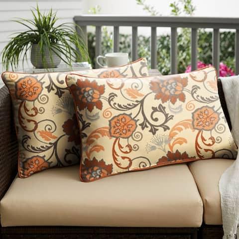 Sunbrella Elegance Marble/ Canvas Rust Corded Indoor/ Outdoor Pillows (Set of 2)