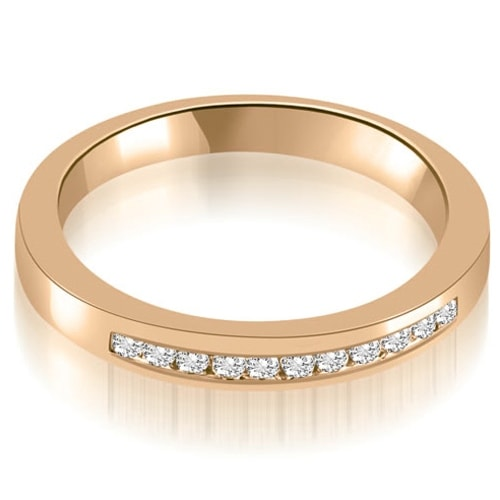 0.13 cttw. 14K Rose Gold Classic Channel Round Cut Diamond Wedding Band