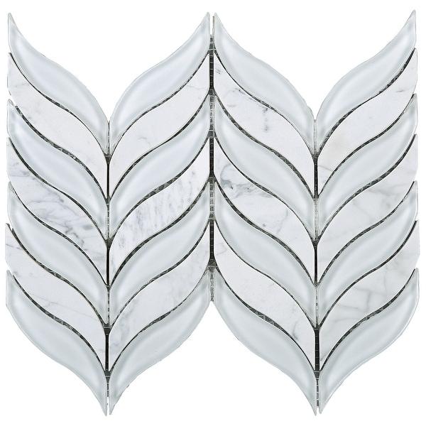 TileGen. Leaf Random Sized Marble Mix Glass Mosaic Tile in White Wall Tile (10 sheets/7sqft.)