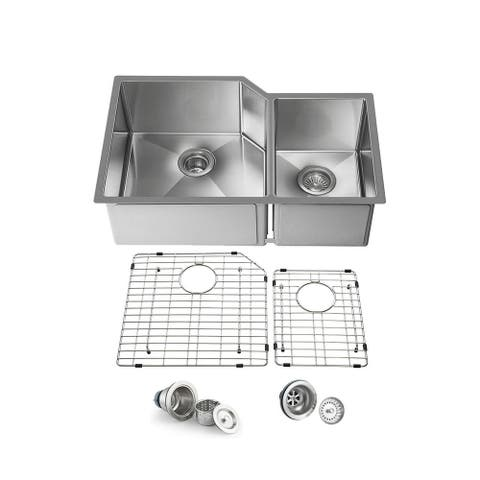 33 inch Handcrafted Undermount Double Bowl 16 gauge Stainless Steel Small Radius Kitchen Sink with Strainers and Grids - 33 Inch