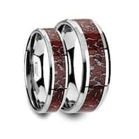 Matching Ring Set Red Dinosaur Bone Inlaid Tungsten Carbide Beveled Edged Ring 4mm