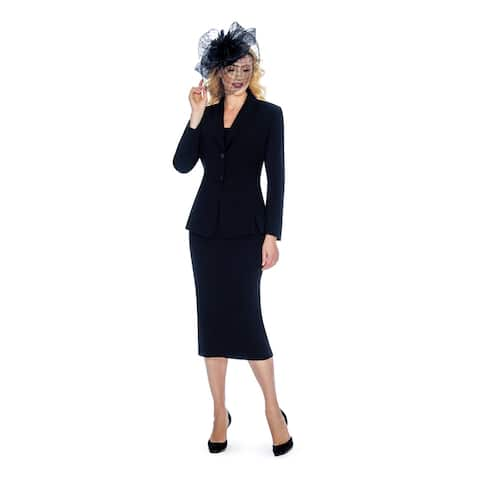 Giovanna Signature Women's Shawl Collar Washable 2-piece Skirt Suit