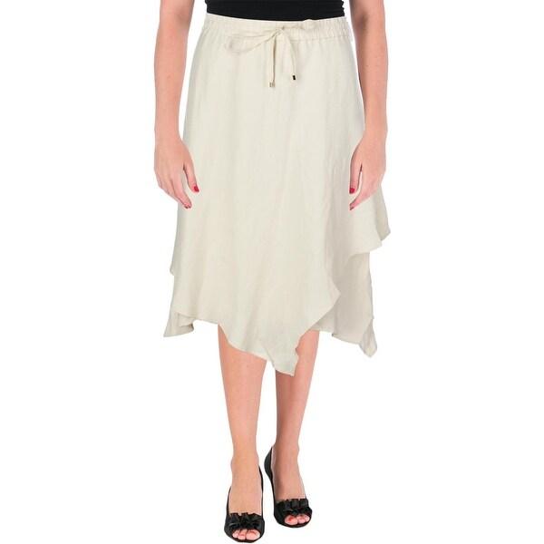 Lauren Ralph Lauren Womens Oquendo Tiered Skirt Linen Blend Layered
