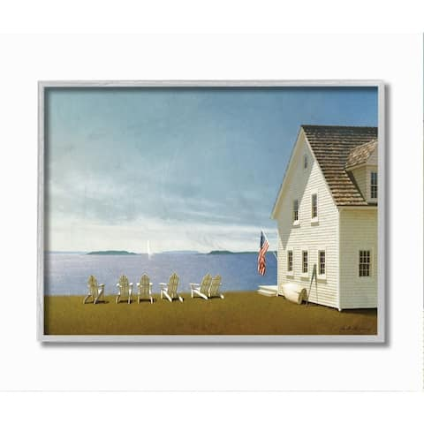 Stupell Industries Americana Cape House Coastal Landscape Charm Painting Framed Wall Art - Multi-Color